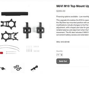 Freefly Store - MōVI M10 Top Mount Upgrade Kit